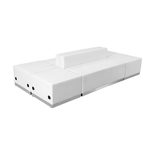 picture of Flash Furniture HERCULES Alon Series White Leather Reception Configuration, 6 Pieces [ZB-803-690-SET-WH-GG]