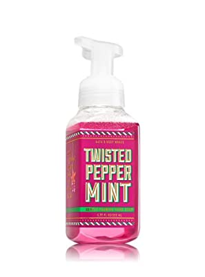 Bath & Body Works TWISTED PEPPERMINT Christmas Shop Gentle Foaming Hand Soap - Pack of 3 with a Jarosa Bee Organic Peppermint Lip Balm
