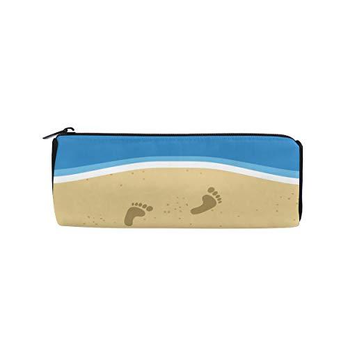 Beach Flip Flops in Rainbow Color Students Super Large Capacity Barrel Pencil Case Pen Bag Cotton Pouch Holder Makeup Cosmetic Bag for Kids