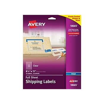 Amazon.com : Avery Matte Frosted Clear Full Sheet Labels ...