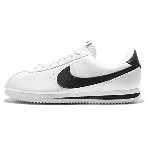 Nike Mens Cortez Basic Leather Casual Shoe White/Metallic Silver/Black 12.5