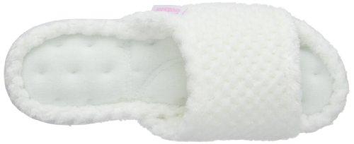 Isotoner Popcorn Open Toe Terry Mule Slippers, Zapatillas de casa mujer blanco (White)