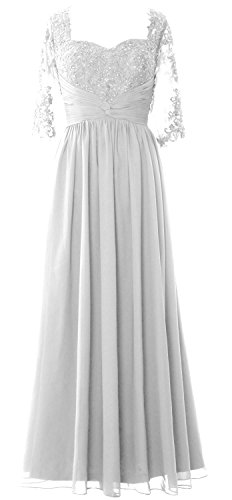 MACloth Women Half Sleeve Mother of Bride Dress Lace Chiffon Formal Evening Gown Blanco