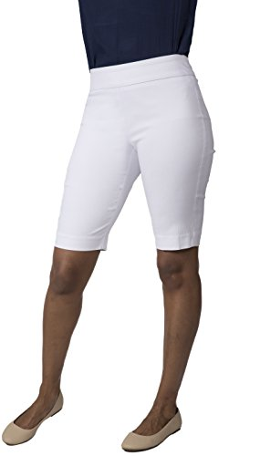 (Fundamental Things Women's Easy Pull-On Skimmer Capris with Tummy Control and Slimming Sensations Fabric, White, Size 6)