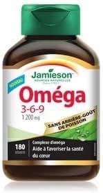 Jamieson Omega 3-6-9 1200mg, No fishy aftertaste, 180 softgels