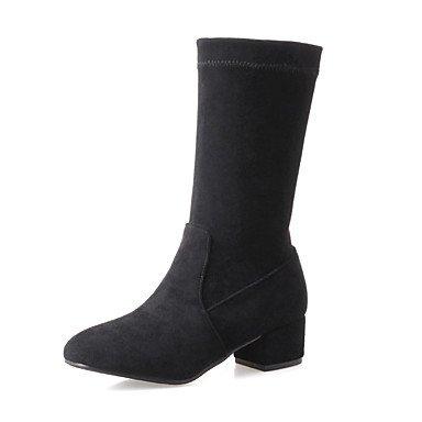 tacco stivali autunno scarpa Desy grosso polpaccio stivali di pecora da con al donna vestito inverno split casual in moda comune nero pelle stivali per Zwqd0fvw