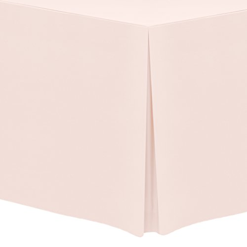 Ultimate Textile (3 Pack) 8 ft. Fitted Polyester Tablecloth - for 18 x 96-Inch Banquet and Folding Rectangular Tables, Ice Peach by Ultimate Textile