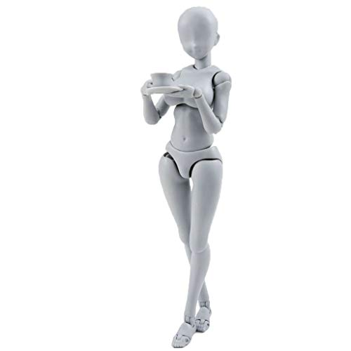 Human Figure Models Artists, Self-Built Arts Drawing Model Action Figure Model Mannequin Man Woman Kits, Suitable for Sketching, Painting, with Flexible Joints(13-15cm, Gray, Shipped from USA) (Drawing Anime Mannequin)