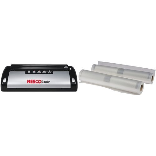Nesco VS-02 Food Vacuum Sealer, Black/Silver and Nesco VS-04R Replacement Roll Bags, 11.0-Inch by 19.69-Feet, 2-Pack Bundle by Nesco