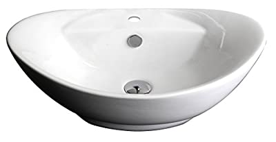 23-in. W x 15-in. D Above Counter Oval Vessel In White Color For Single Hole Faucet