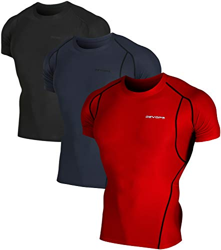 DEVOPS Men's 3 Pack Cool Dry Athletic Compression Short Sleeve Baselayer Workout T-Shirts (X-Large, Black-Charcoal-Red) ()