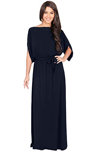 KOH KOH Plus Size Womens Long Flowy Casual Short Half Sleeve with Sleeves Fall Winter Floor Length Evening Modest A-line Formal Maternity Gown Gowns Maxi Dress Dresses, Dark Navy Blue XL 14-16