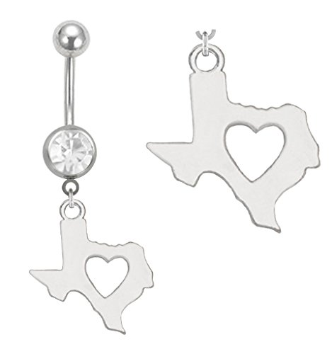 Clear Cz Gem I love Texas Heart in State dangle Belly button navel Ring 14g