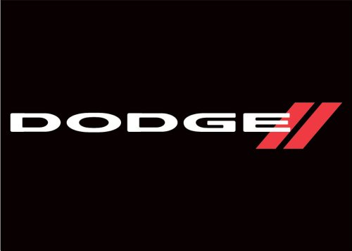 Dodge Auto Logo with Words Traditional Flag