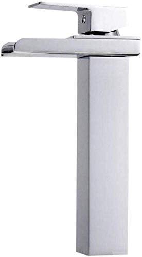 Yadianna クローク洗面所のために利用可能なタップ滝トール浴室の洗面台のタップシングルハンドルトールカウンタートップモノクローム仕上げソリッドブラスホット&コールドウォーター
