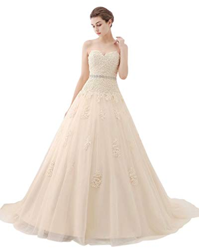 ScelleBridal Sweetheart Strapless A-line Lace Appliques Wedding Dresses for Bride Champagne 20W