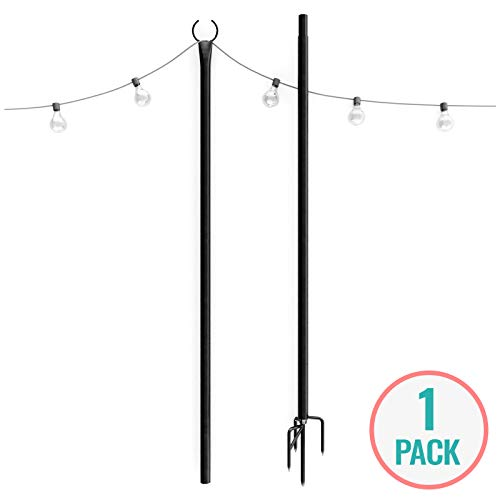 Holiday Styling String Light Poles for Outdoors (1 x 9ft) Push Down Middle to Stay Strong Straight and Sturdy with LED Hanging Solar Bulbs for House Garden Cafe Wedding Party