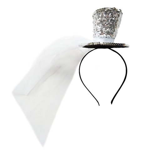 Christmas Fashion Top Hat Headband (Mini Top Hat Fascinator Hair Clip Headband Pillbox Glittery Veil tea party B Silver)