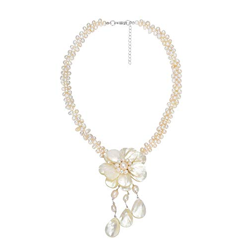 AeraVida Lotus Rain Mother of Pearl and Cultured Freshwater Pearl Floral Handmade Necklace ()