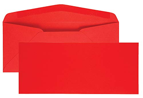 Quality Park Colored Envelope, Traditional, #10, Red, 25 per Pack ()