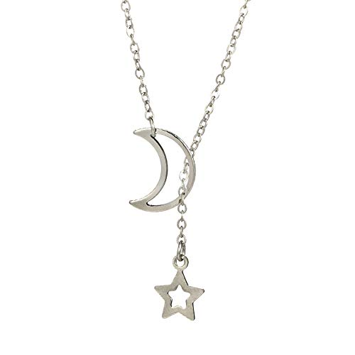 Gbell Clearance! Women's Girls Star Moon Necklace Pendant Choker Charms,Gold Silver Simple Long Neck Chain Jewelry Gifts, 31cm+7cm Ideal for Wedding,Party,Engagement ()