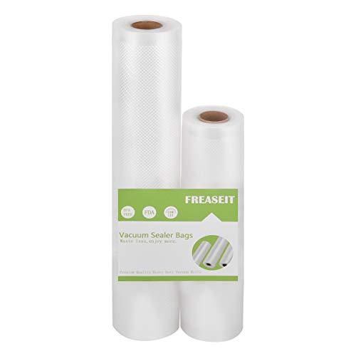 Vacuum Sealer Bag Rolls for Food, BPA Free Heavy Duty Plastic Sealer Vacuum Packing Bags for Foodsaver (2 Packs) (8″x16.5′ and 11″x16.5'(2 pack))