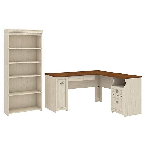 Bush Furniture Fairview L Shaped Desk and 5 Shelf Bookcase in Antique White by Bush Furniture