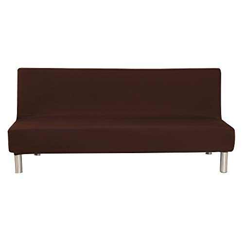 WATTA Solid Color Futon Cover Slipcover Couch, Polyester Spandex Stretch Bed Cover Replacement,Futon Mattress Cover, Futon Mattress Protector - Brown - 51