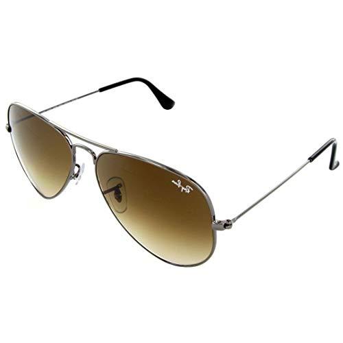 (Ray-Ban RB3025 Small Aviator Sunglasses Shiny Gunmetal w/Brown Gradient (004/51) 3025 00451 55mm Authentic)