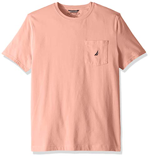 - Nautica Men's Solid Crew Neck Short Sleeve Pocket T-Shirt, Coral Sands, X-Large