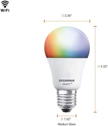 SYLVANIA Smart+ Wi-Fi Full Color Dimmable A19 LED Light Bulb, CRI 90+, 60W Equivalent, Works with Alexa and Google Assistant, 4 Pack