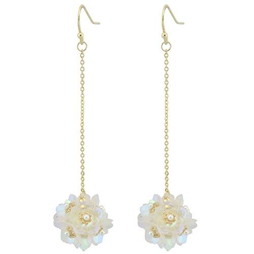 Coiris New Elegant Sequins Flower Dangle Earrings For Women Drop Earrings (ER1139-white) ()