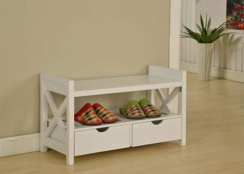 Kings Brand White Finish Wood Shoe Storage Bench with Drawers