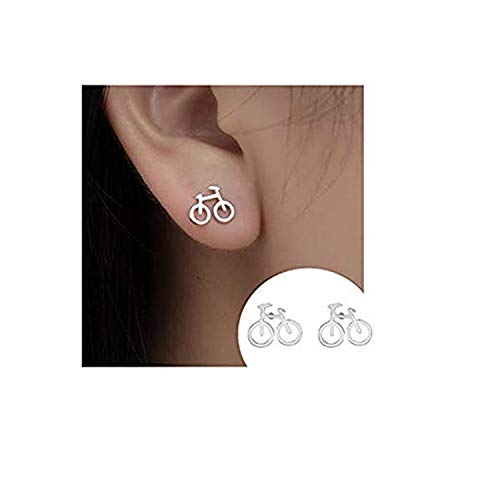 Lovely Cute Tiny Bike Bicycle Stud Earrings For Women Best Friend Gifts Ear Jewelry (SILVER)