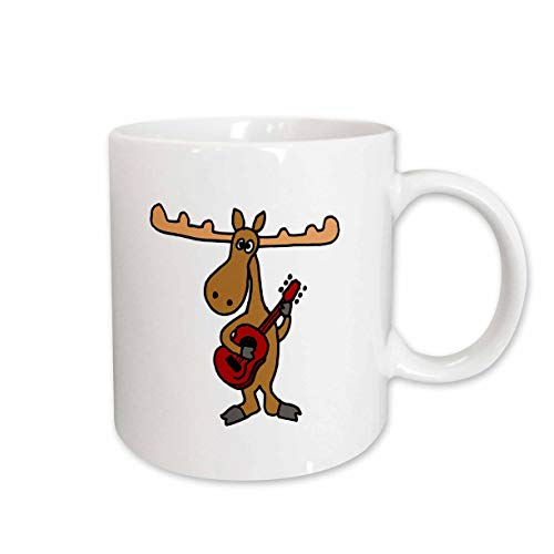 3dRose 196090_2 Funny Moose Playing Guitar Ceramic Mug 15 oz