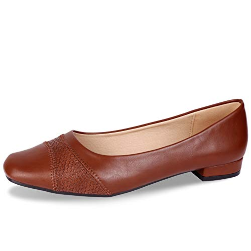CINAK Comfort Flats for Women-Low Chunky Heel Pumps Formal Square Toe Dress Slip On Casual Spliced Shoes (11 B(M) US/ CN43/ 10.4'', Brown-018)