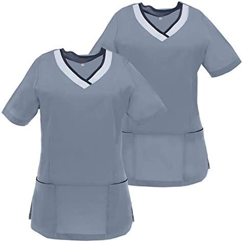 MISEMIYA - Pack*2-Camisa Camisetas Mujer Medica Mangas Cortas Uniforme Médicos Enfermera Ddentistas G718: Amazon.es: Ropa y accesorios