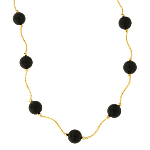 - Beauniq 14k Yellow Gold Diamond Cut 8mm Simulated Onyx Station Necklace, 18.5 inches