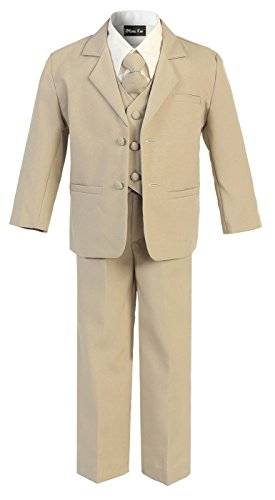 (OLIVIA KOO Boys Black Classic 2 Button Suit With Cloth Cover Buttons,Khaki,16)