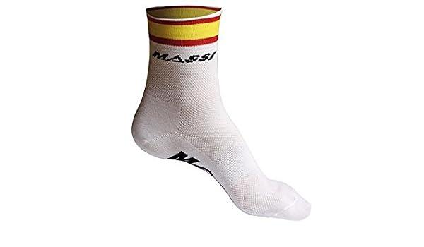 Massi Spanish - Calcetines de Ciclismo Unisex, Color Blanco, Talla L: Amazon.es: Zapatos y complementos