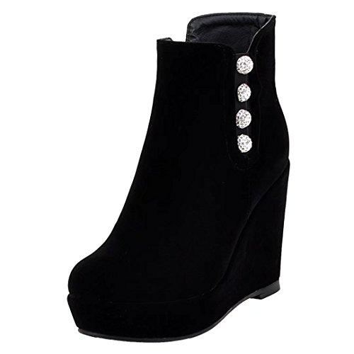 AIYOUMEI Damen Wildleder Keilabsatz Stiefeletten mit Plateau High Heels Herbst Winter Wedge Stiefel Schuhe A6th9
