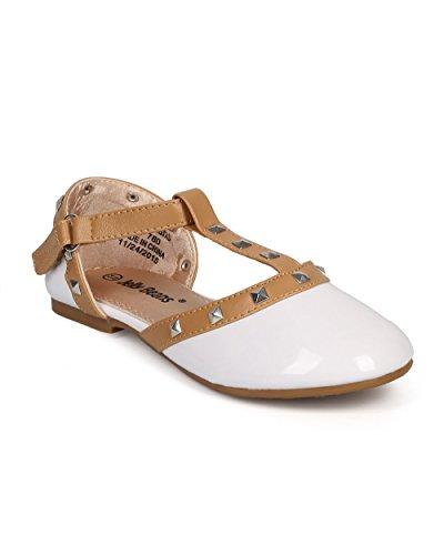 Alrisco Patent Round Toe Studded T-Strap Dorsay Ballet Flat (Little Girl/Big Girl) DH98 - White (Size: Little Kid (Big Kid Jelly Bean)