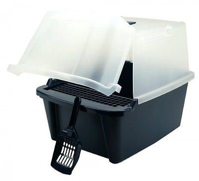 IRIS Split-Lid Hooded Litter Box w/ Scoop / Paw Cleaning Grid, Large, Navy, New by Cat Supplies