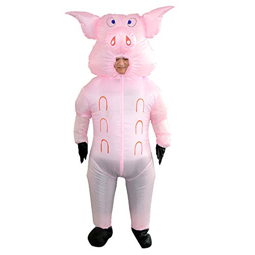 HHARTS Inflatable Pig Costume Blow up Costume Suit Halloween Cosplay Party Christmas Fancy Dress Adult Inflatable Costume