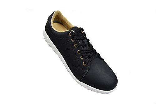 7a92f1d84400b Zerimar Chaussures De Golf En Cuir De Vachette Sport Et Confortable Couleur  De Course Décontractée Noir ...