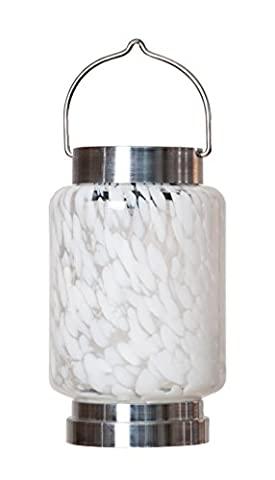 Allsop Home and Garden Solar Boaters Lantern Cylinder, Handblown Glass with Solar Panel and LED Light, Weather-Resistant for Outdoor Deck, Patio, Garden, Cylinder/White, - Allsop Led Solar Lantern