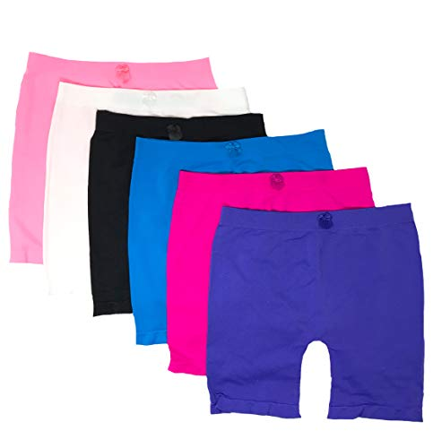 (I&S Little Girls Bike Shorts Dance Underwear for Sports, Play Or Under Skirts 6 Pack (6 Color Random Assorted#2, Big Medium (8-11)))