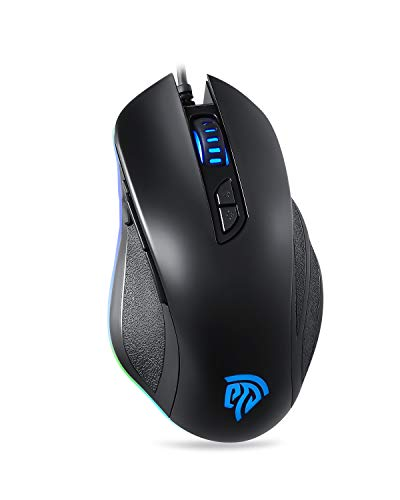 Wired Gaming Mouse, 10000DPI, 6 Programmable Buttons, 22 Preset Macros for PUBG, 16.8 Million RGB EasySMX Gaming Mouse,6 Adjustments of DPI, On-The-Fly Switching for PC/Laptop