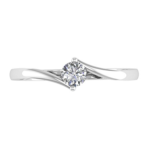 14k White Gold Solitaire 2-Prong Set Diamond Engagement Ring Band (1/5 Carat)