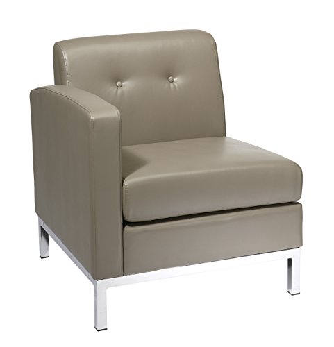 Ave Six Wall Street Faux Leather Corner Chair with Chrome Accents, Smoke